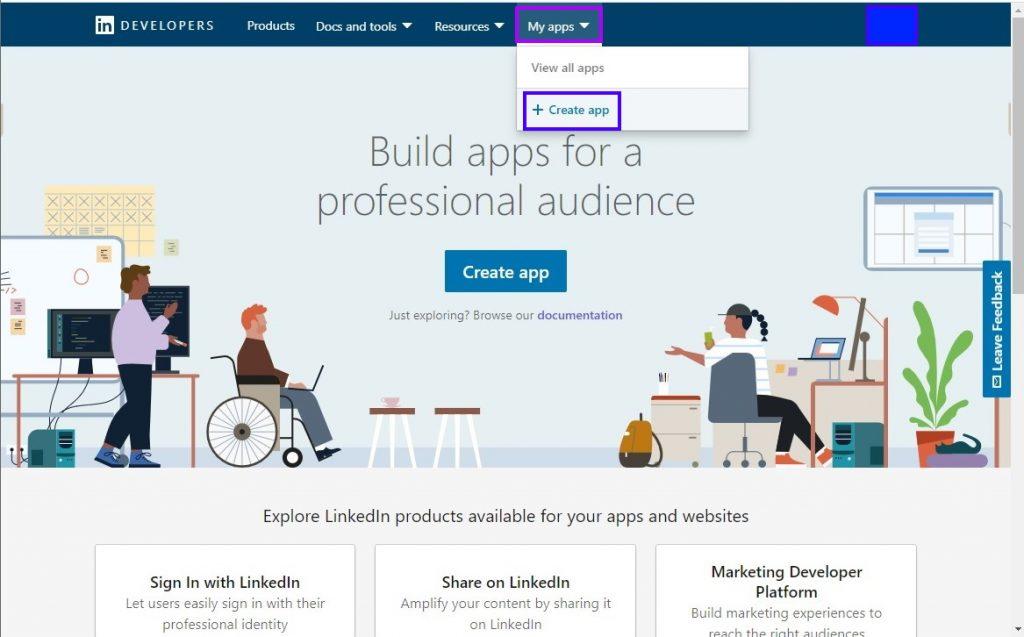 Creating a Linkedin app