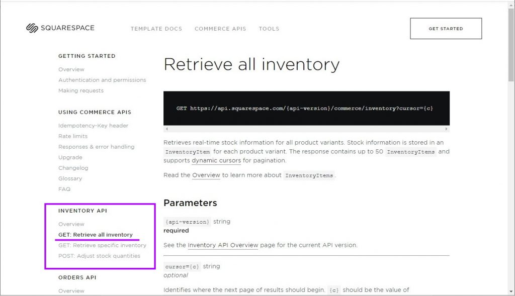 """Retrieve all inventory"" endpoint documentation - Squarespace API"