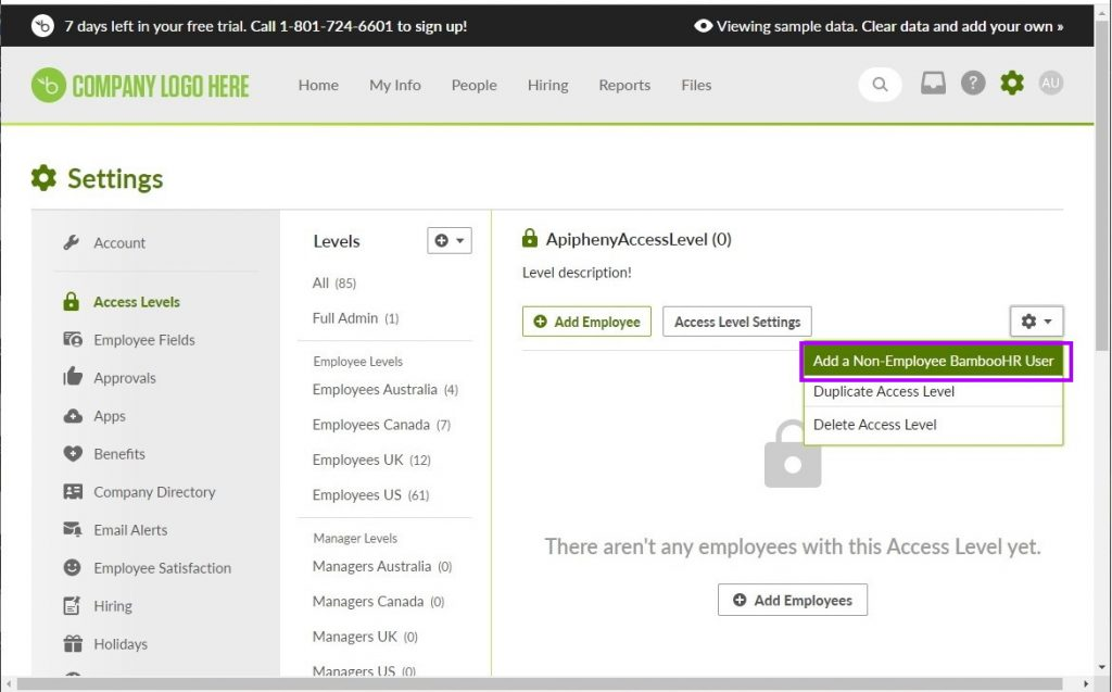 "Select the ""Add a Non-Employee BambooHR User"" button"