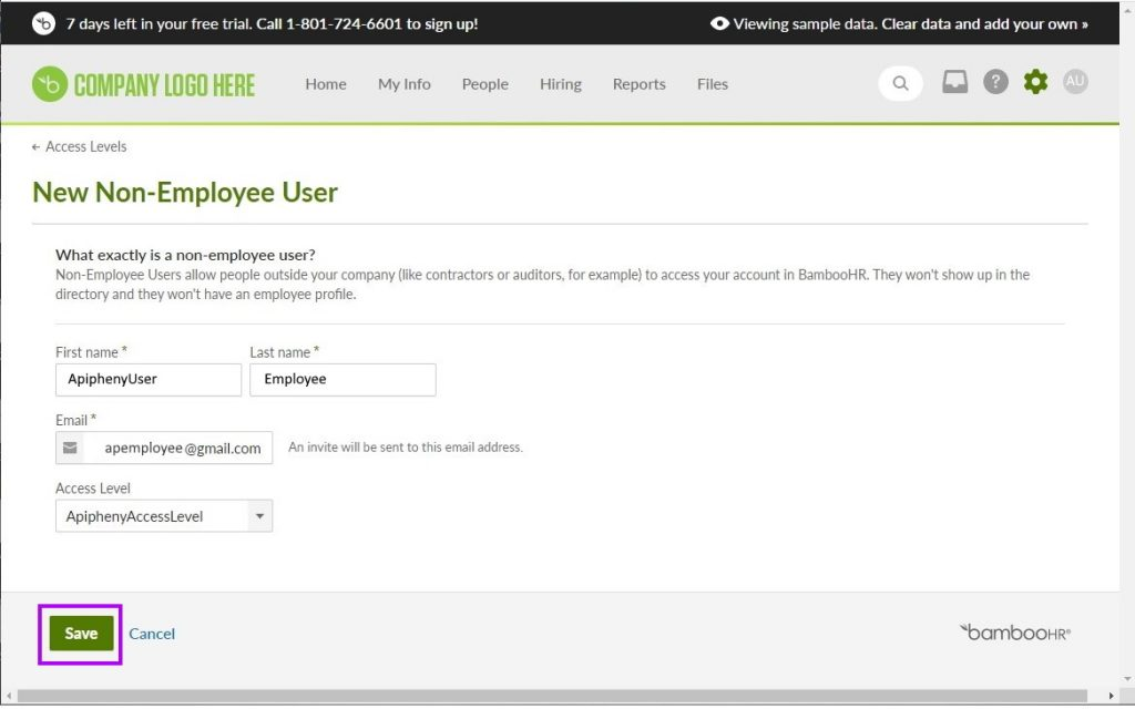 """Enter the details for the new non-employee user in BambooHR then click """"Save"""""""