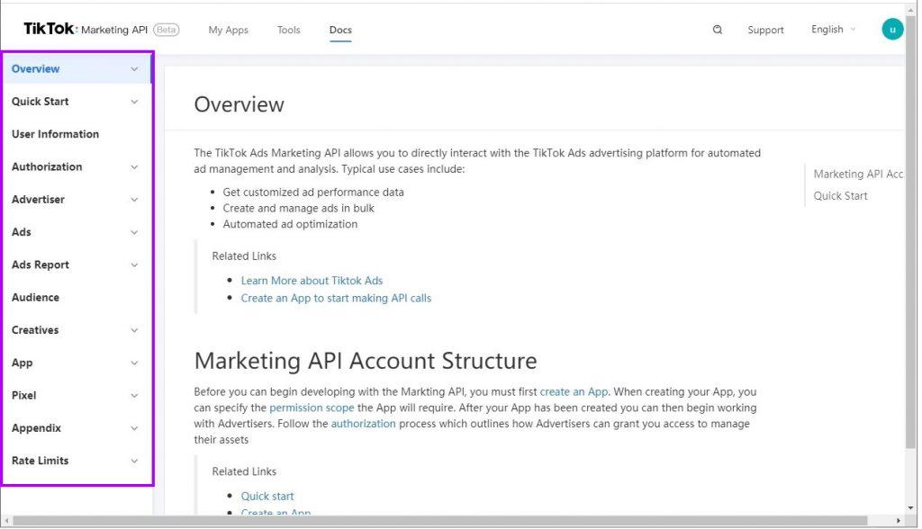 TikTok API documentation