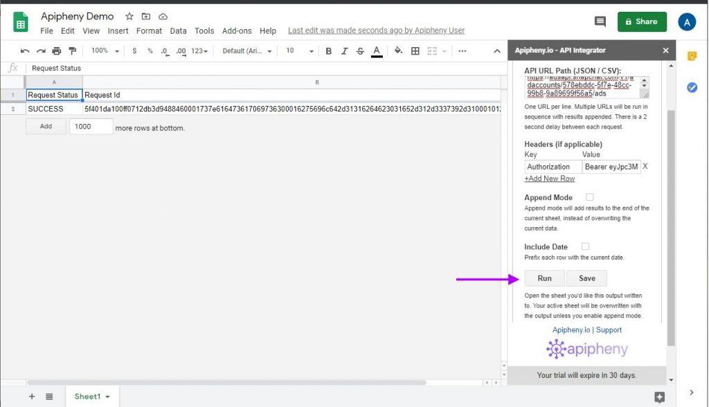 Snapchat API data imported into Google Sheets using Apipheny