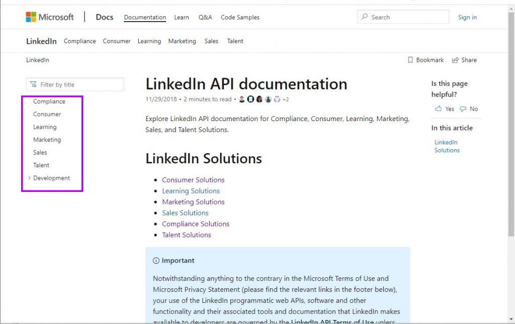 Linkedin API Documentation
