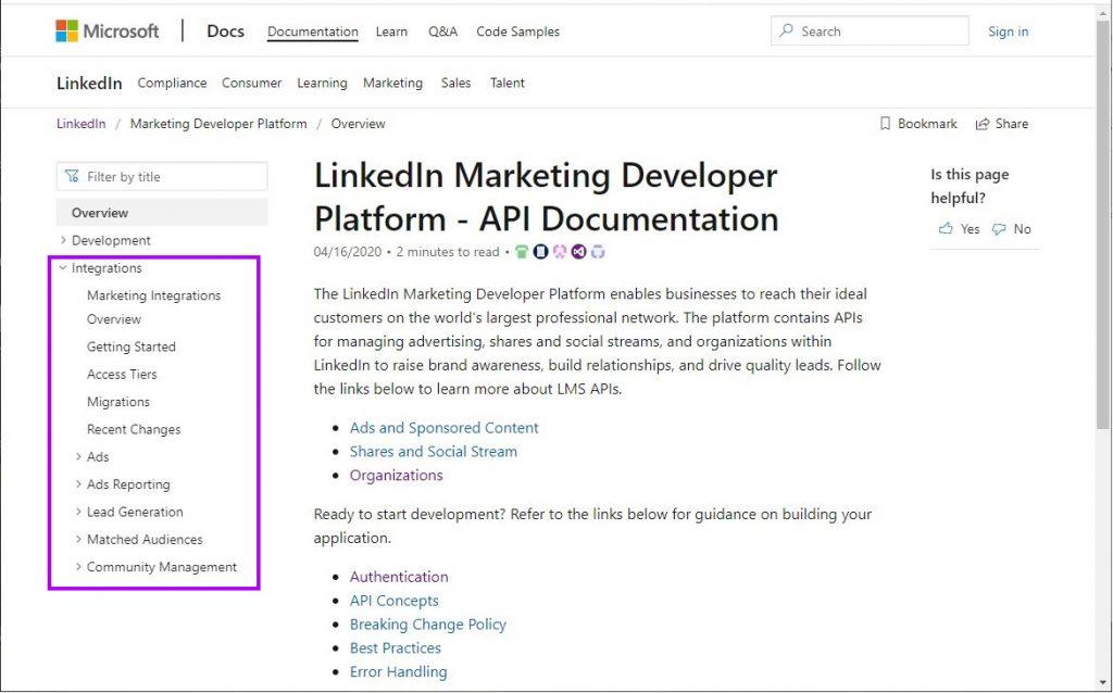 Linkedin API endpoints