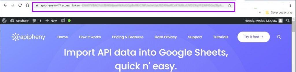 Facebook access token in the URL bar