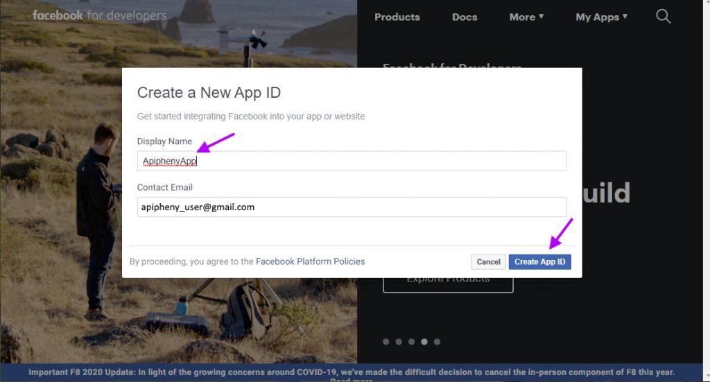 Create Facebook App ID