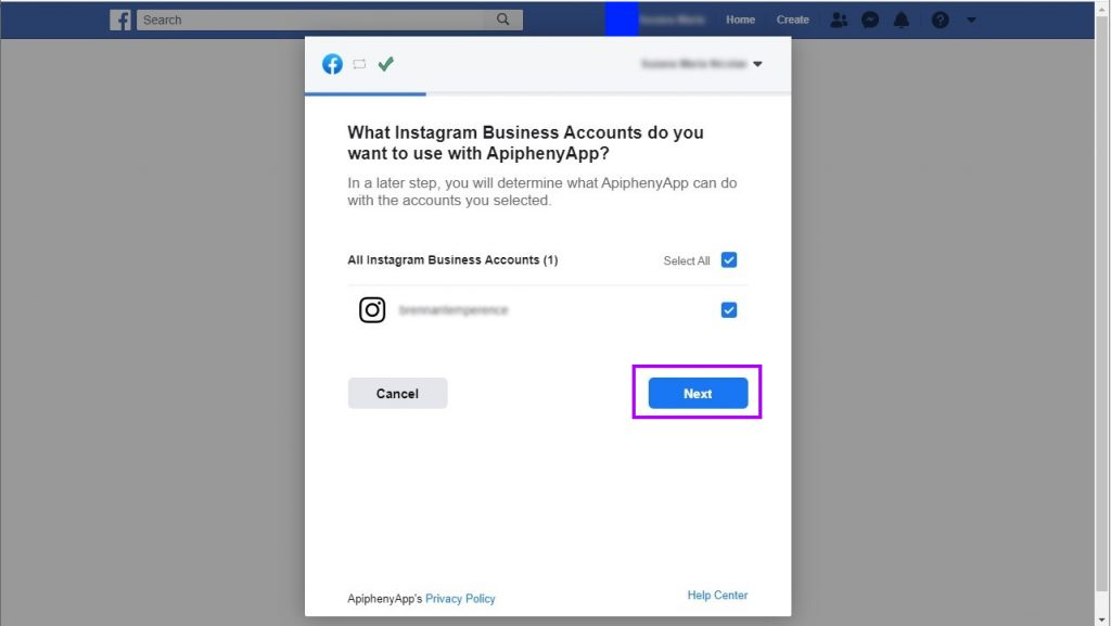 Connect your Instagram account to the Facebook app