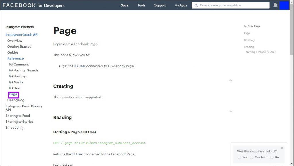 Instagram API Page endpoint documentation