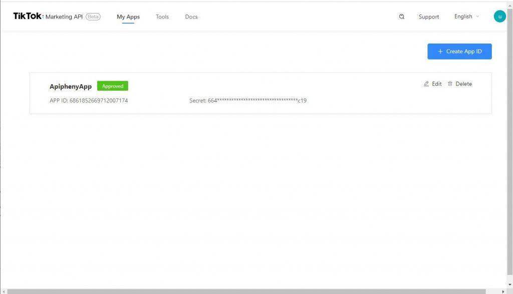 Verified TikTok API app with the App ID and Secret
