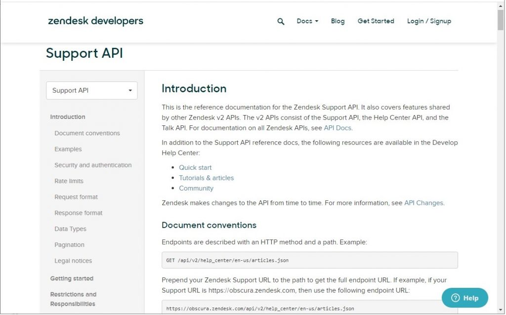 Zendesk Support API documentation