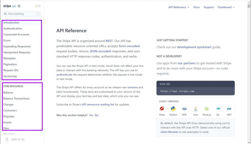 Stripe API documentation