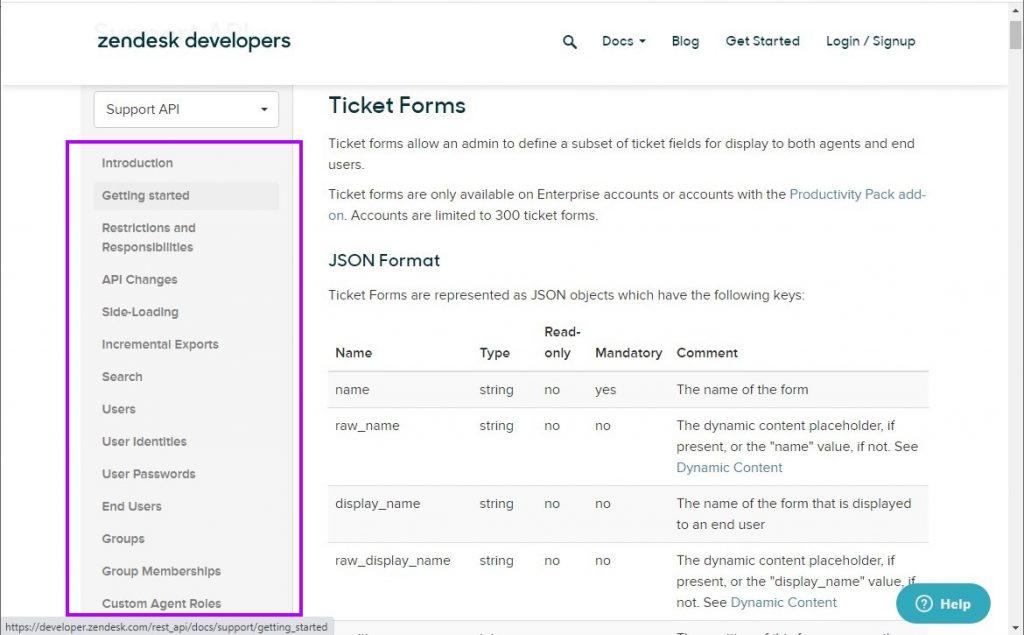 Zendesk Support API endpoints