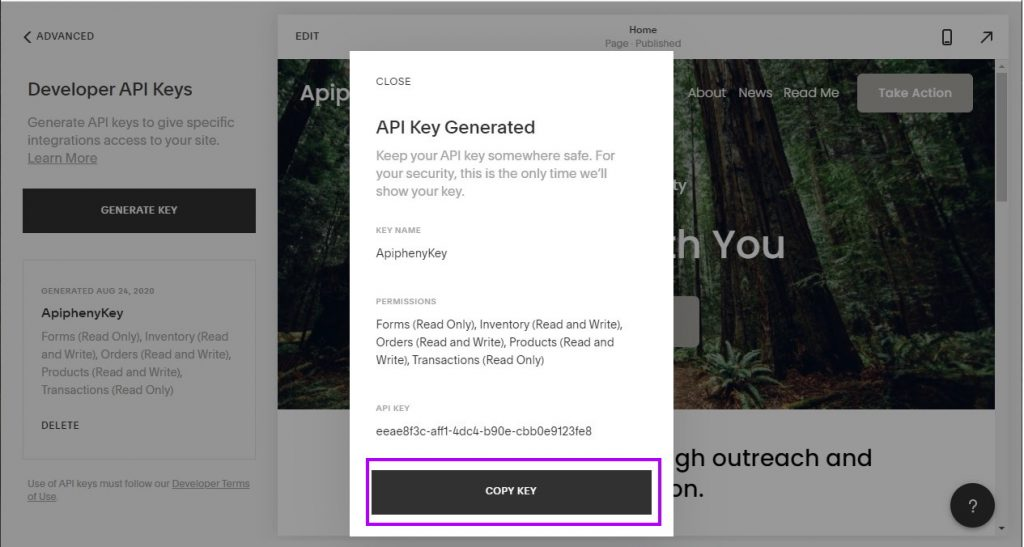 Copy and paste your Squarespace API key to a safe location