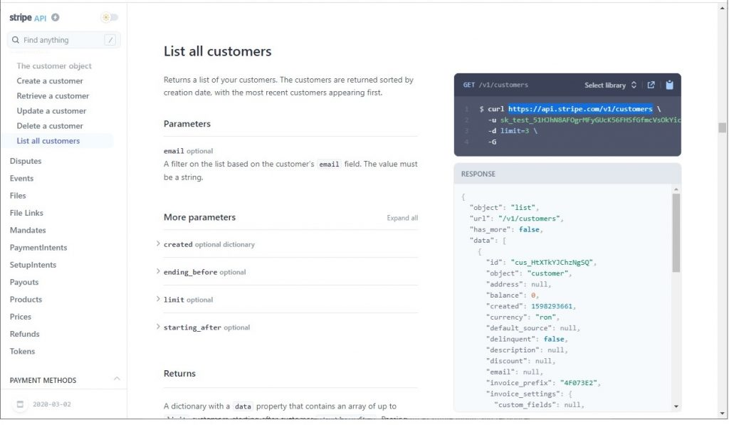"""List all customers"" Stripe API endpoint example"