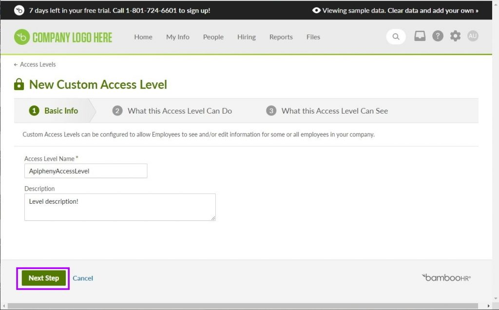 Entering a name and description for the new custom access level in BambooHR