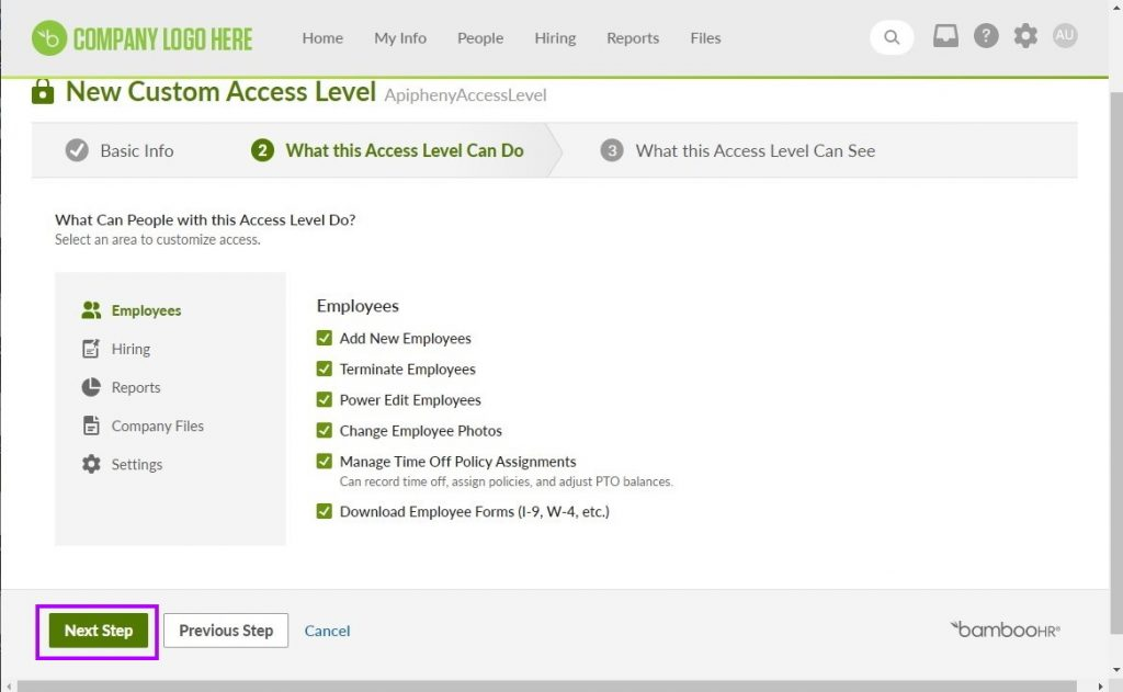 Choosing the permissions for the new access level in BambooHR