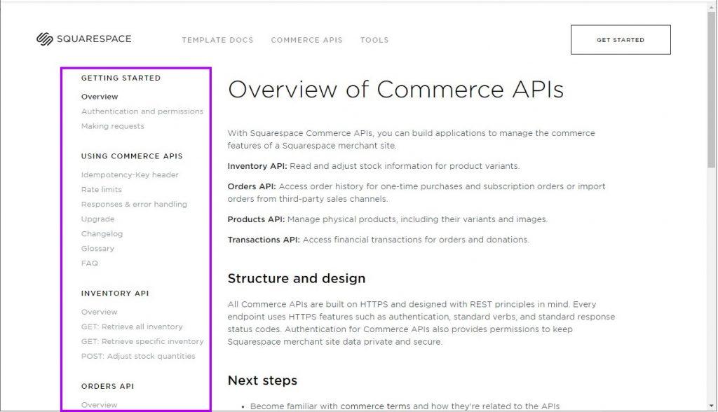 Squarespace API documentation
