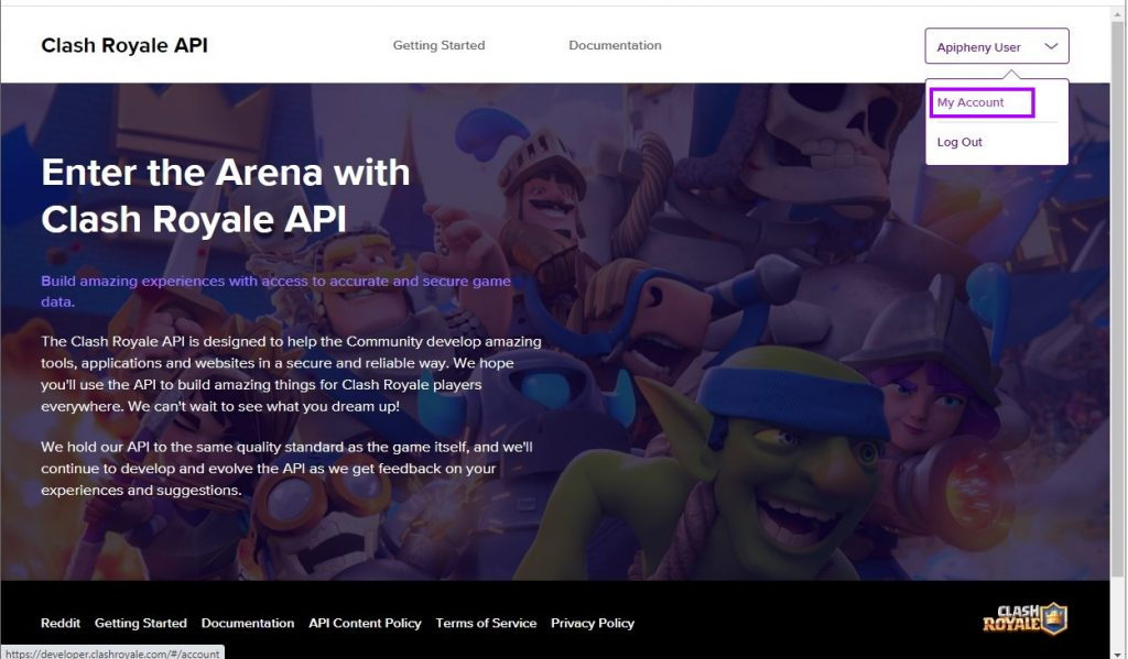 Go to your Clash Royale developer account