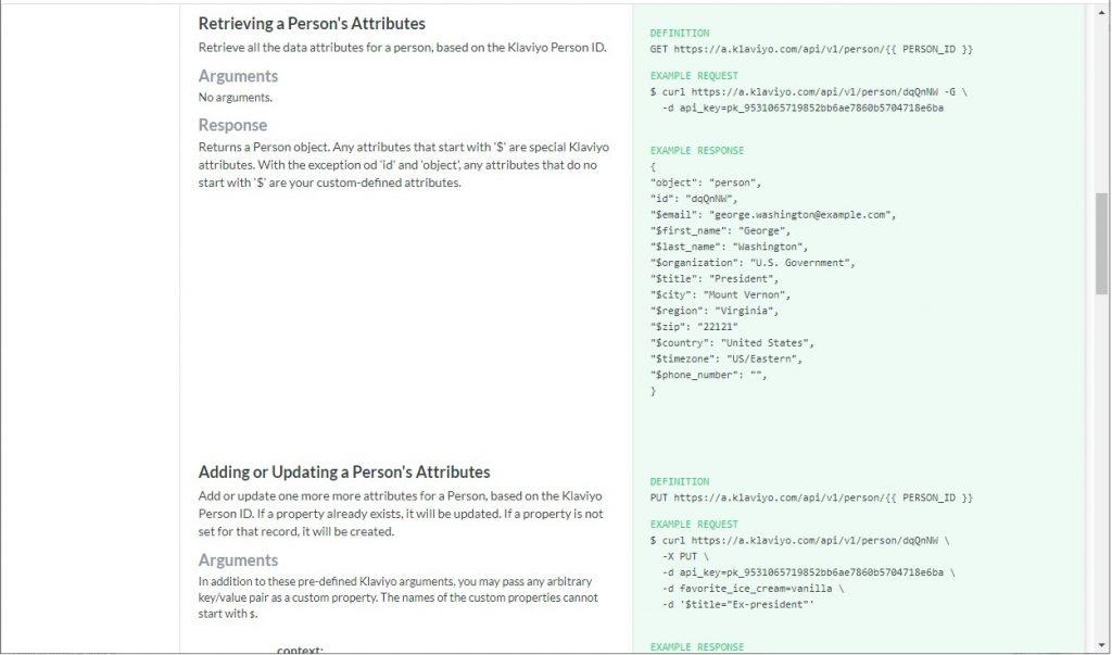 Example Klaviyo API documentation
