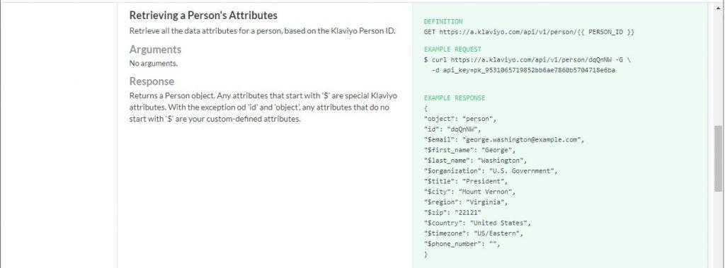 Example Klaviyo endpoint documentation
