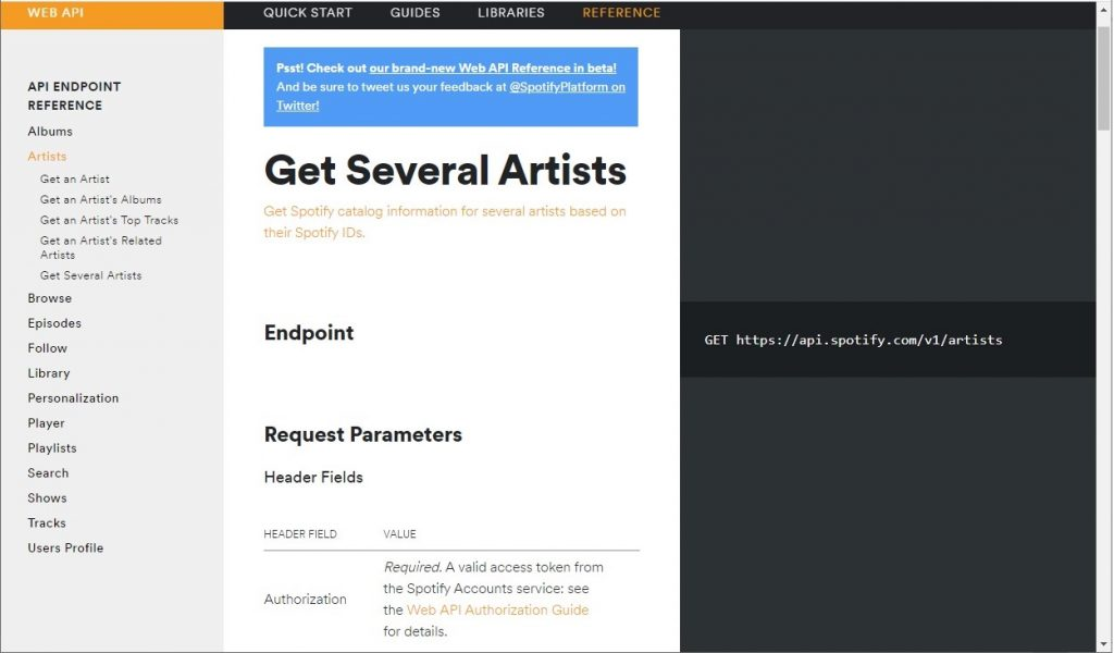 Spotify API endpoint documentation example