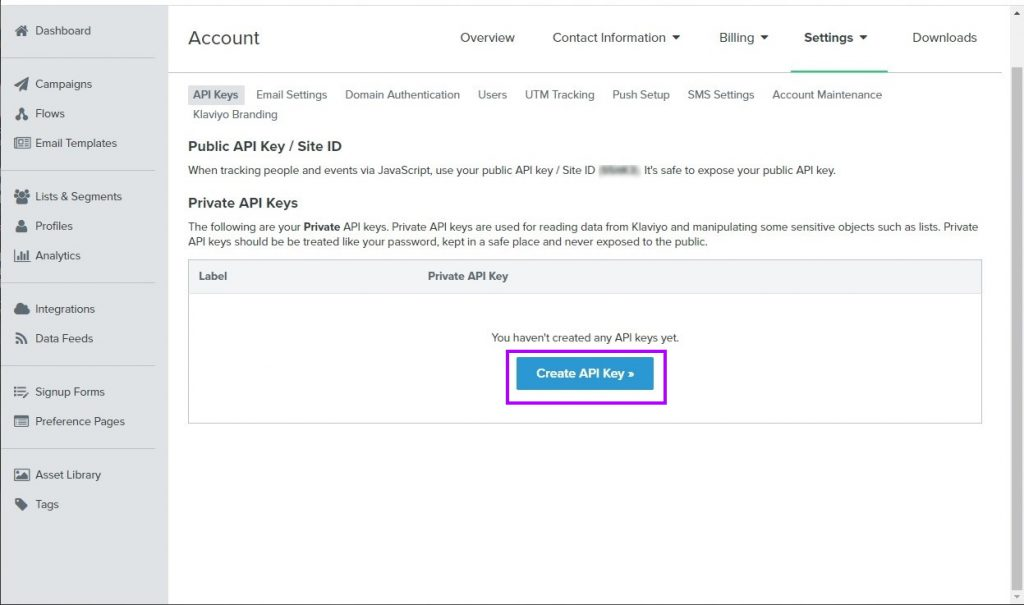 Create an API Key in your Klaviyo account