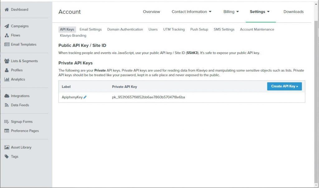 Labeled Klaviyo API key