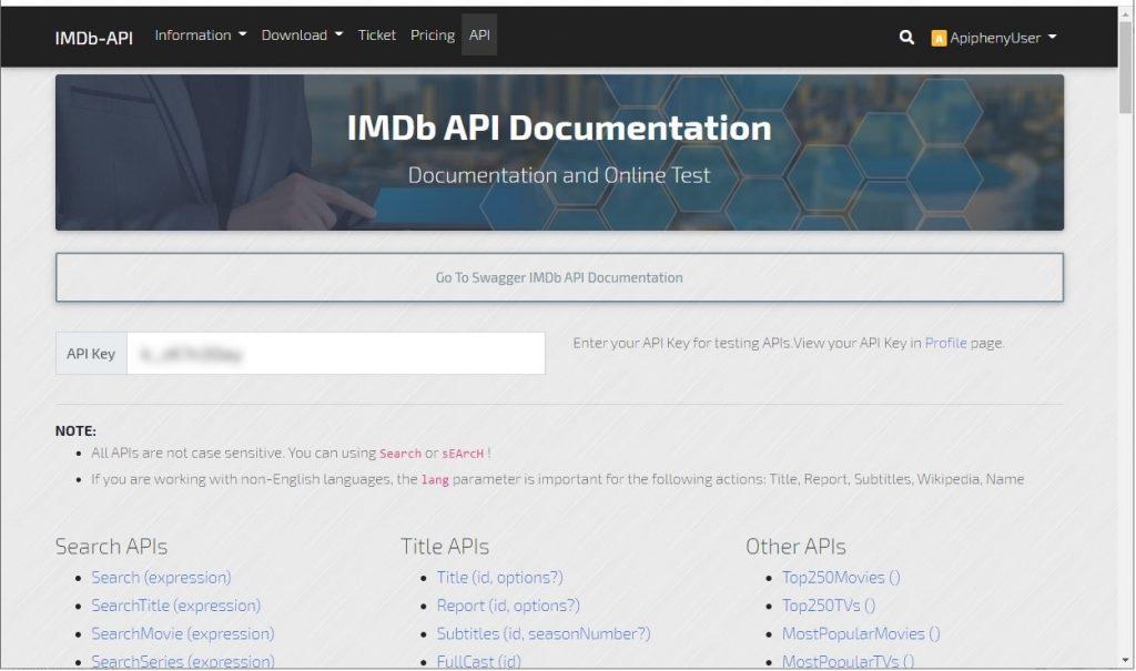 IMDB API Documentation