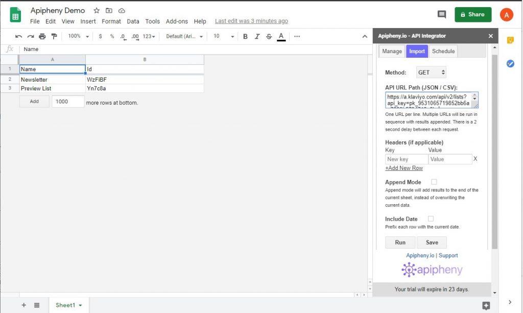 Klaviyo API data imported into Google Sheets using Apipheny