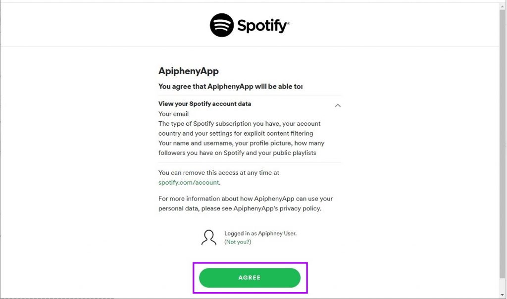 Authorize your Spotify account to access the Spotify app you created