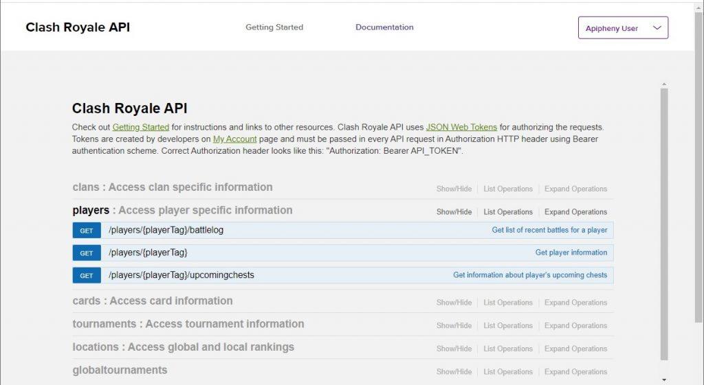 Clash Royale API endpoints