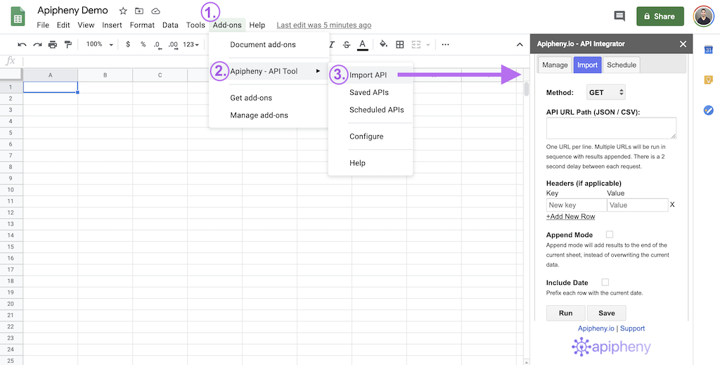 Opening the Apipheny REST API connector in Google Sheets