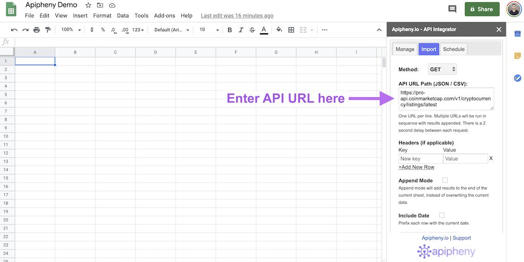 REST API URL entered into the Apipheny add-on in Google Sheets