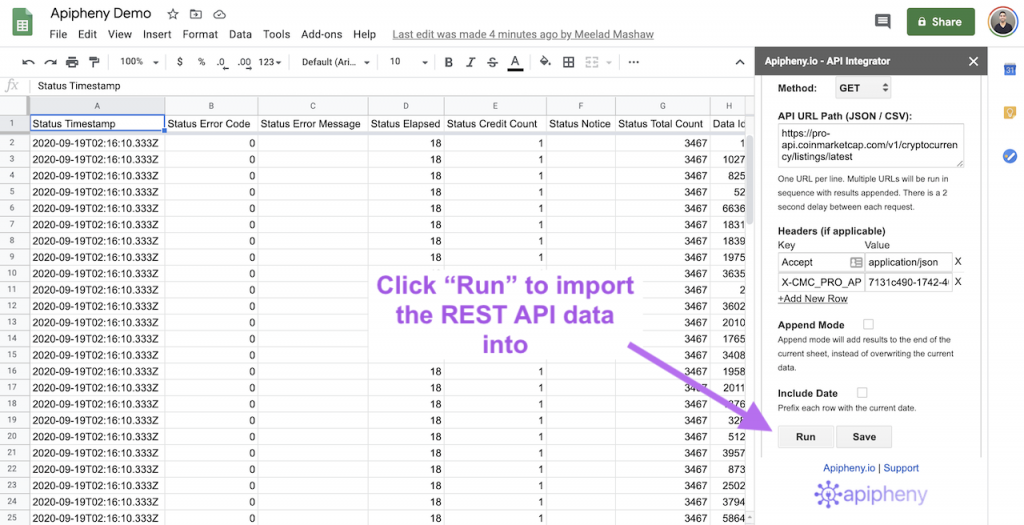 REST API data imported into Google Sheets using the Apipheny add-on