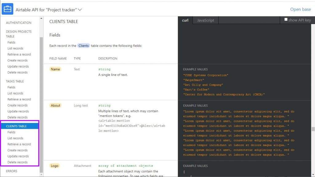 Example airtable API endpoints
