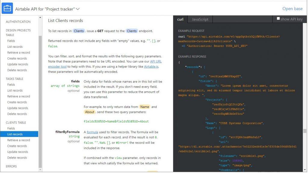 Airtable API documentation