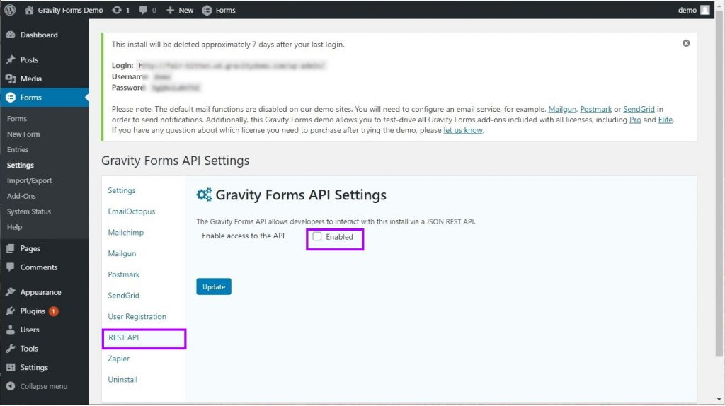 Enable the Rest API in your Gravity Forms settings