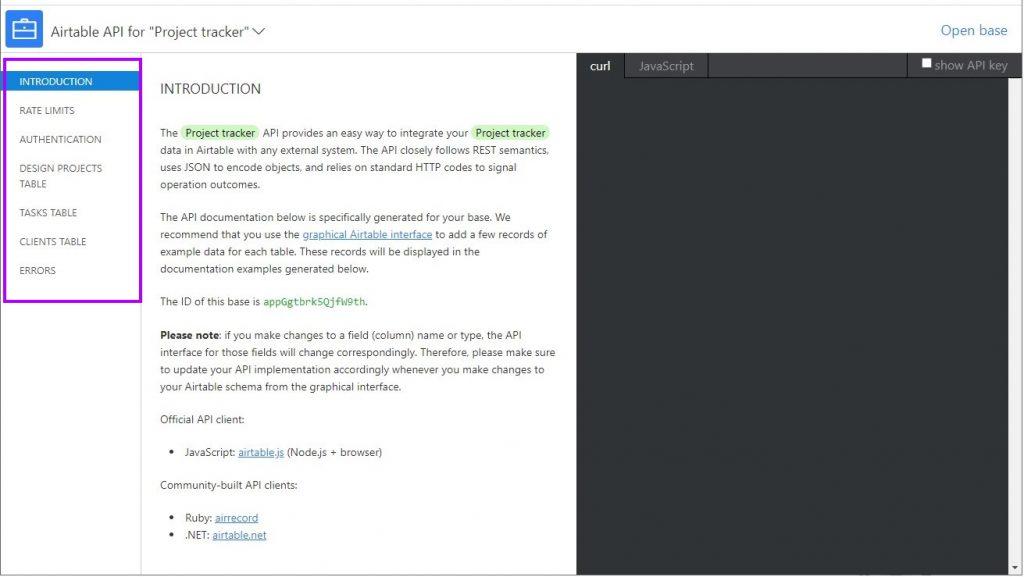 Example Airtable API endpoint documentation