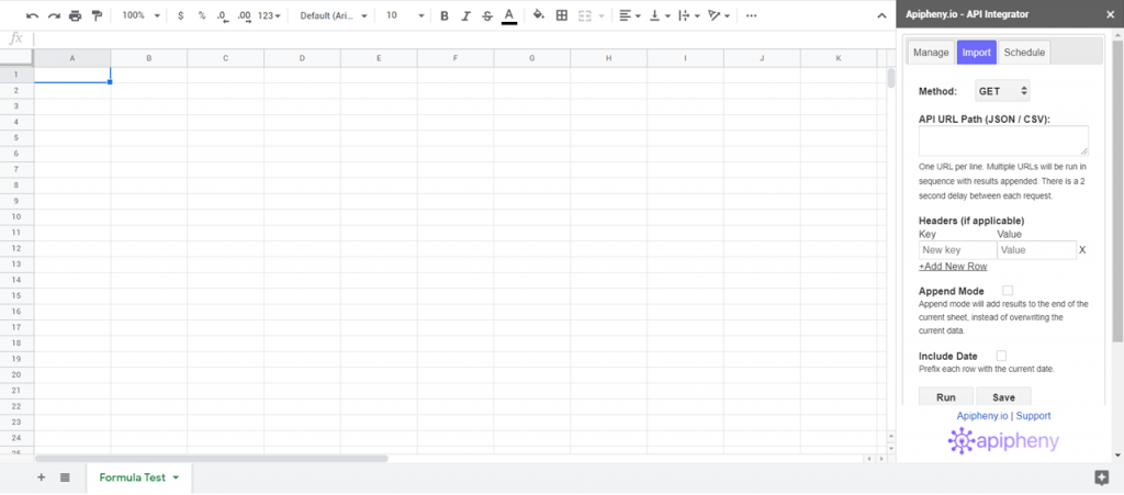 Open Google Sheets and run Apipheny.
