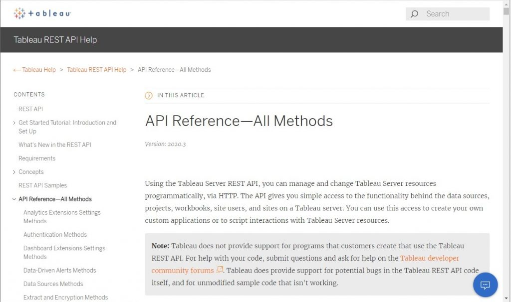 Tableau API documentation