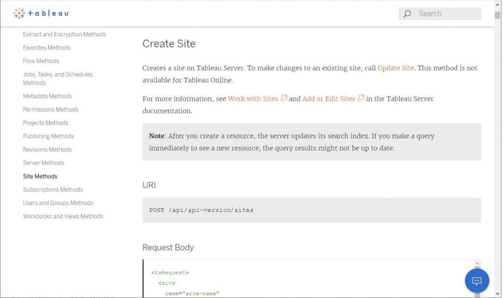 Tableau API endpoint documentation example