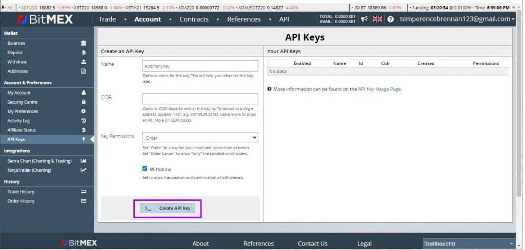 "Fill in the details and then click the ""Create API Key"" button"