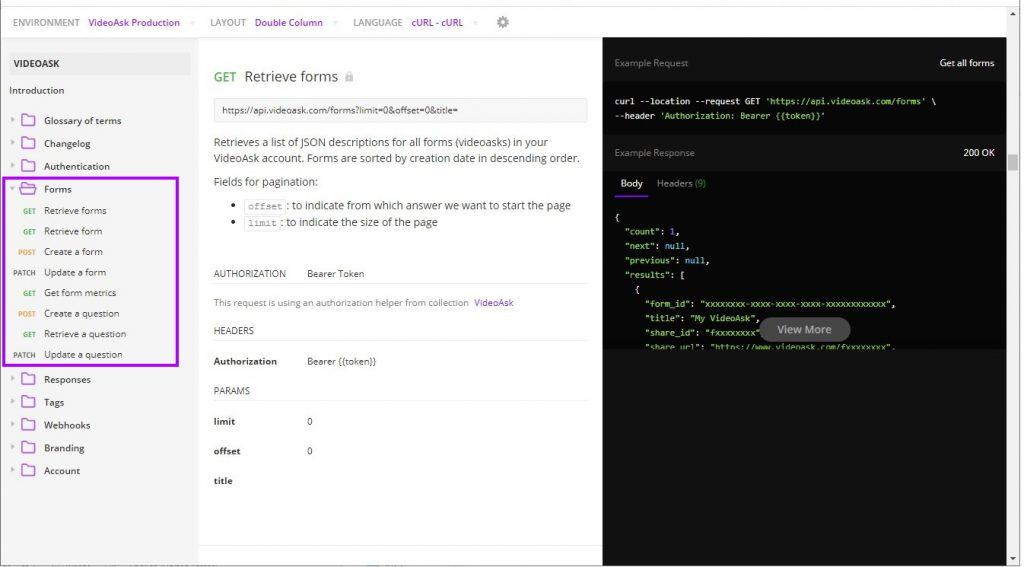 Videoask API endpoints documentation
