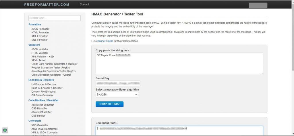 HMAC generator/tester tool
