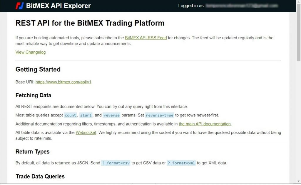 Bitmex API documentation