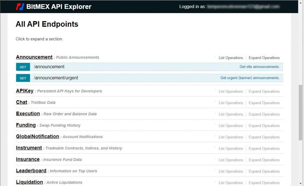 Bitmex API endpoint examples