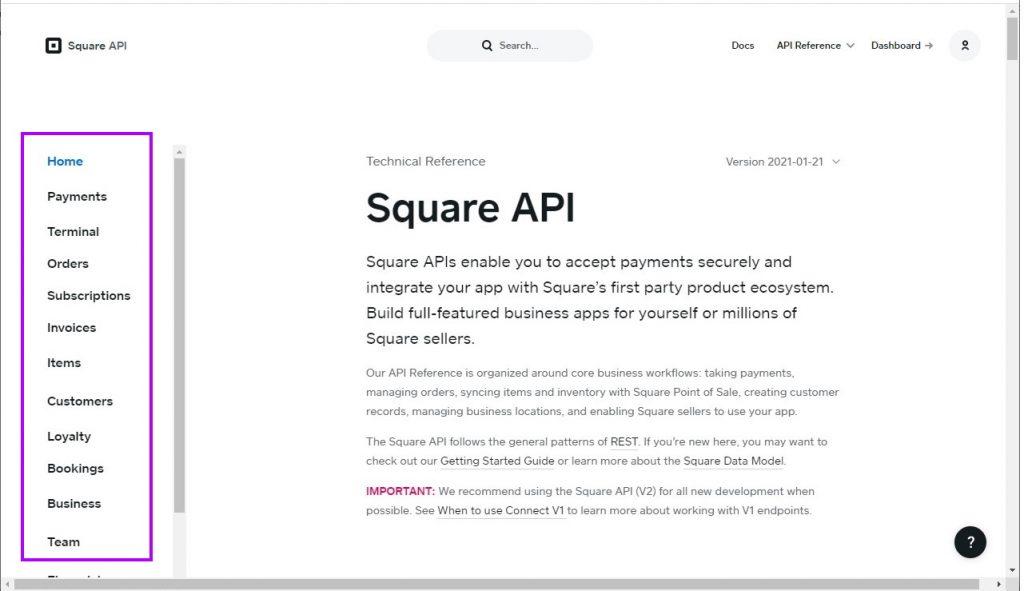 Square API documentation