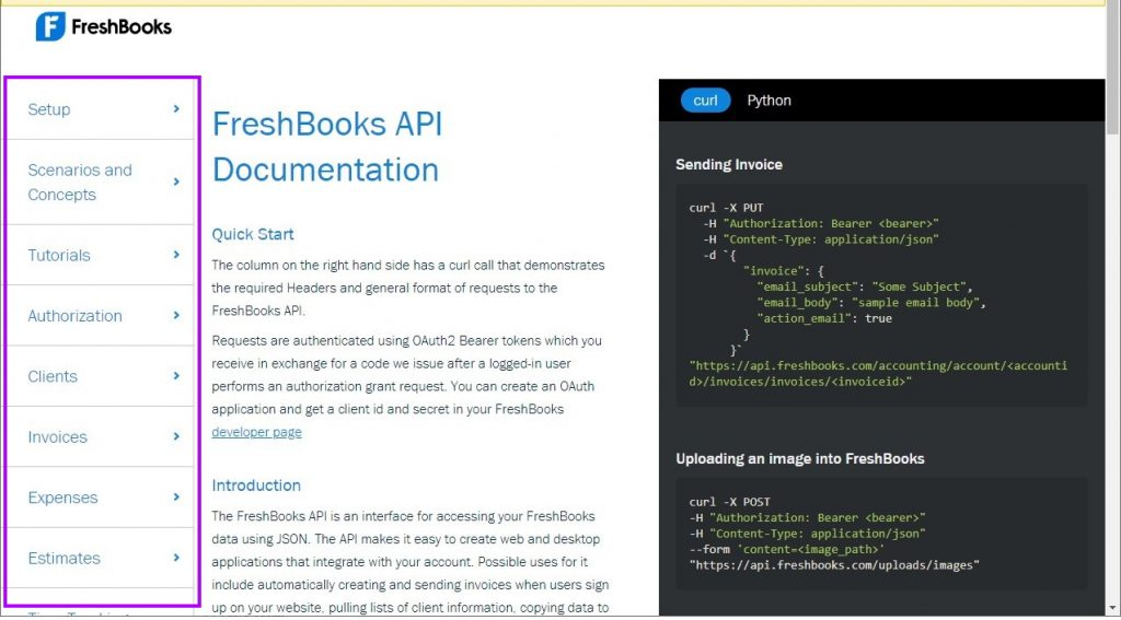 Freshbooks API categories