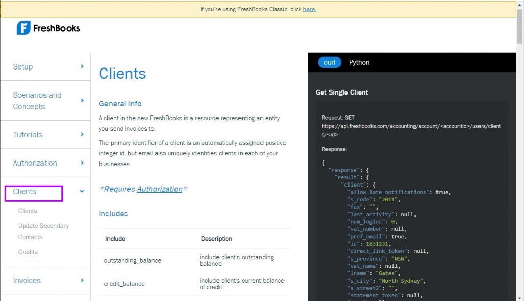 Freshbooks API endpoints example