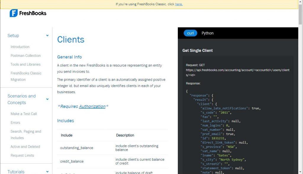 Freshbooks API endpoint documentation